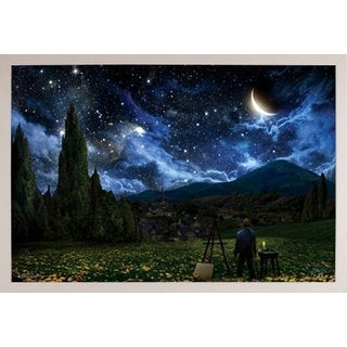 Starry Night 24-inch x 36-inch Poster with White Simply Poly Frame
