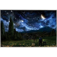 """'Starry Night' Silver Metal Framed Poster (24"""" x 36"""")"""
