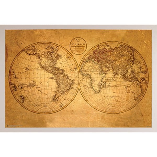 Shop old world map poster with white poly frame free shipping old world map poster with white poly frame gumiabroncs Gallery