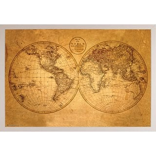 Old World Map Poster with White Poly Frame