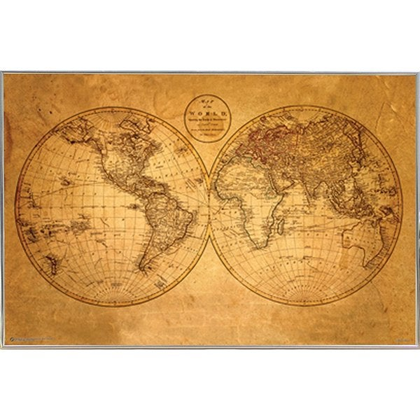 Slver metal framed old world map poster free shipping today slver metal framed old world map poster gumiabroncs Image collections