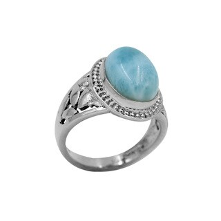 Sterling Silver Larimar Bezel Leaf Detail Ring
