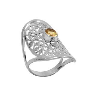 Polished Sterling Silver Lace Pattern Citrine Ring - Yellow