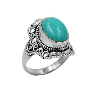 Sterling Silver Turquoise Lacy Ring - Green