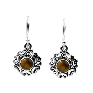 Sterling Silver Tiger's Eye Round Dangle Earring