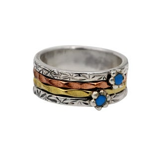 Sterling Silver, Copper, Brass Spinner Ring with Turquoise Flower Design Detail