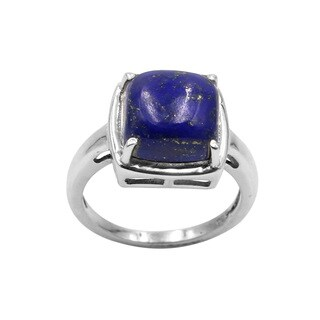 Sterling Silver Lapis Cabochon Cushion Ring