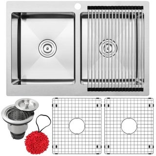 Ticor 16-gauge Stainless Steel Double Bowl Overmount Kitchen Sink