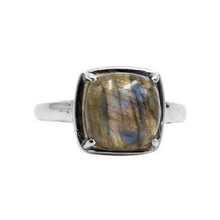 Sterling Silver Smooth Labradorite Ring