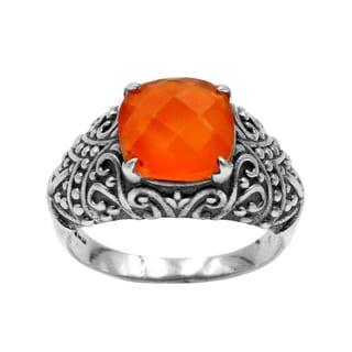 Sterling Silver Carnelian Intricate Handcrafted Filigree Design Ring Orange