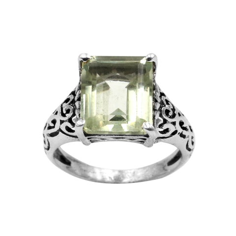 Sterling Silver Green Amethyst Gemstone Scroll Design Ring