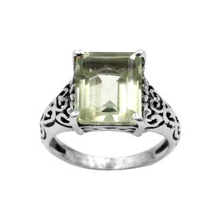 Sterling Silver Green Amethyst Gemstone Scroll Design Ring|https://ak1.ostkcdn.com/images/products/14681088/P21215074.jpg?impolicy=medium
