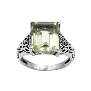 Sterling Silver Green Amethyst Gemstone Scroll Design Ring