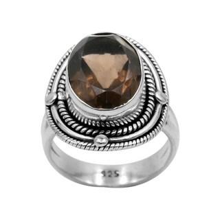 Sterling Silver Smokey Quartz Rope Filigree Ring