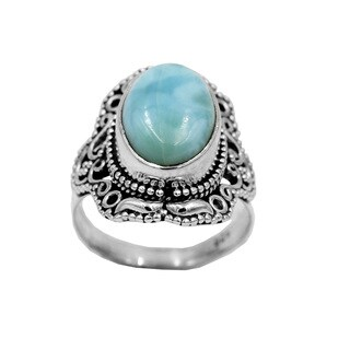 Sterling Larimar Traditional Decorative Oval Ring