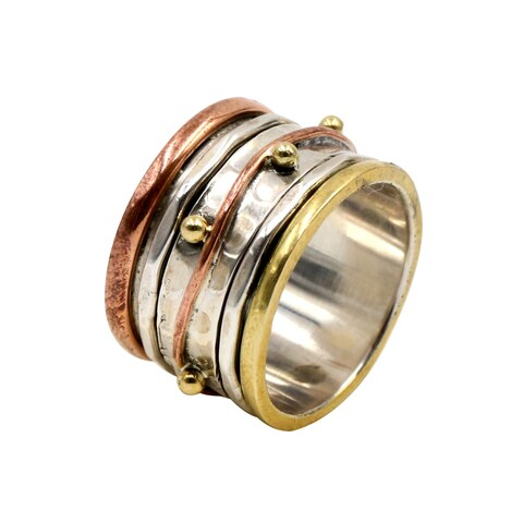 Sterling Silver, Copper, and Brass Spinner Ring