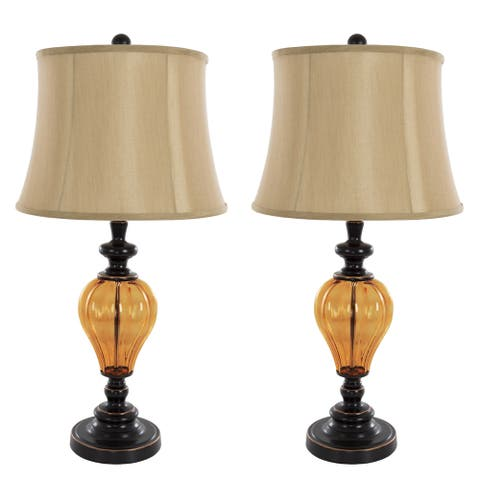 Table Lamps Set of 2, Amber Glass (2 LED Bulbs included) by Windsor Home
