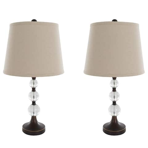 Table Lamps Set of 2, Crystal Balls with Bronze (2 LED Bulbs included) by Windsor Home