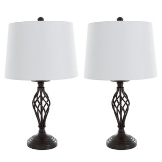 Table Lamps Set of 2, Spiral Cage Design (2 LED Bulbs included) by Windsor Home