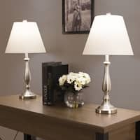 Windsor Homes Traditional Brushed Steel/White Fabric Table Lamps (Set of 2)
