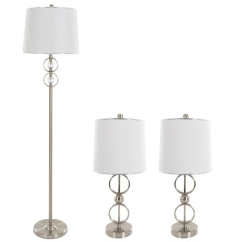 Table Lamps and Floor Lamp Set of 3, Modern Brushed Steel (3 LED Bulbs included) by Windsor Home