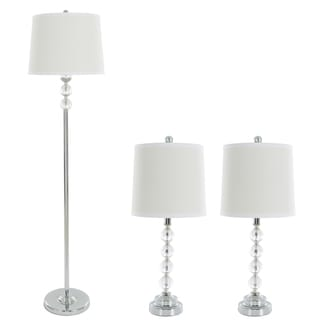Table Lamps And Floor Lamp Set Of 3, Faceted Crystal Balls (3 LED Bulbs