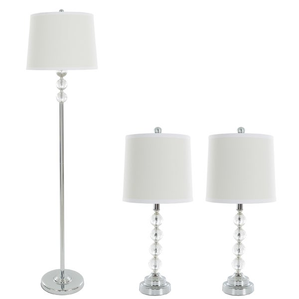 Table L&s and Floor L& Set of 3 Faceted Crystal Balls (3 LED Bulbs  sc 1 st  Overstock.com & Table Lamps and Floor Lamp Set of 3 Faceted Crystal Balls (3 LED ...