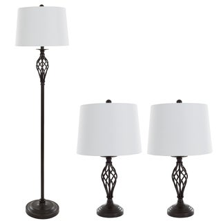 Table Lamps and Floor Lamp Set of 3, Spiral Cage Design (3 LED Bulbs included) by Windsor Home