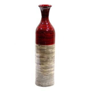Heather Ann Creations Silvertone Bamboo Handspun Vase