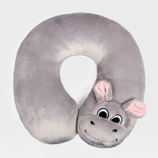 Berkshire Blanket Silver Hippo Kids' Travel Neck Pillow