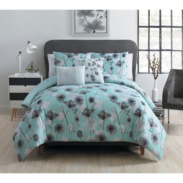 VCNY Home Aqua Poppy Flower Reversible 5-piece Comforter Set