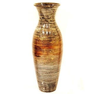 Heather Ann Creations Handspun White Bamboo Vase|https://ak1.ostkcdn.com/images/products/14681372/P21215307.jpg?impolicy=medium