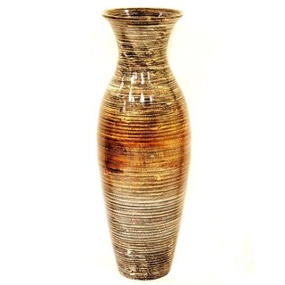 Heather Ann Creations Handspun White Bamboo Vase