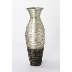 Heather Ann Creations Black and Silver Handspun Bamboo Vase