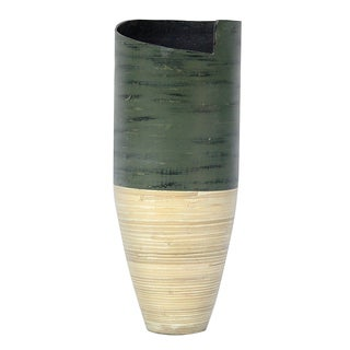 Hand-crafted Glossy Spun Bamboo Floor Vase