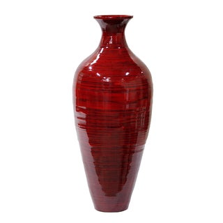 Oiled Red Hand-spun Bamboo Tall Long-neck Bottle Vase