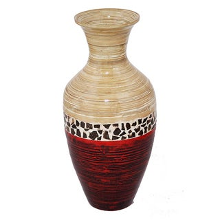 Crafted Classic Beige/ Red Large Spun Bamboo Vase