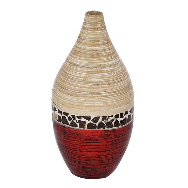 Shop Hand Crafted Glossy Spun Bamboo Floor Vase Free Shipping