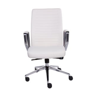 Euro Style Emory White Faux Leather Low-back Office Chair