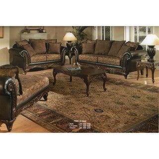 San Marino 2-Tone Chocolate Brown Fabric Sofa