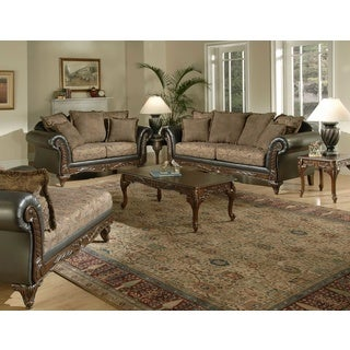 San Marino 2-Tone Chocolate Brown Fabric Sofa & Loveseat