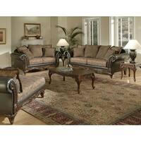 San Marino 2-Tone Chocolate Brown Fabric Sofa & Loveseat