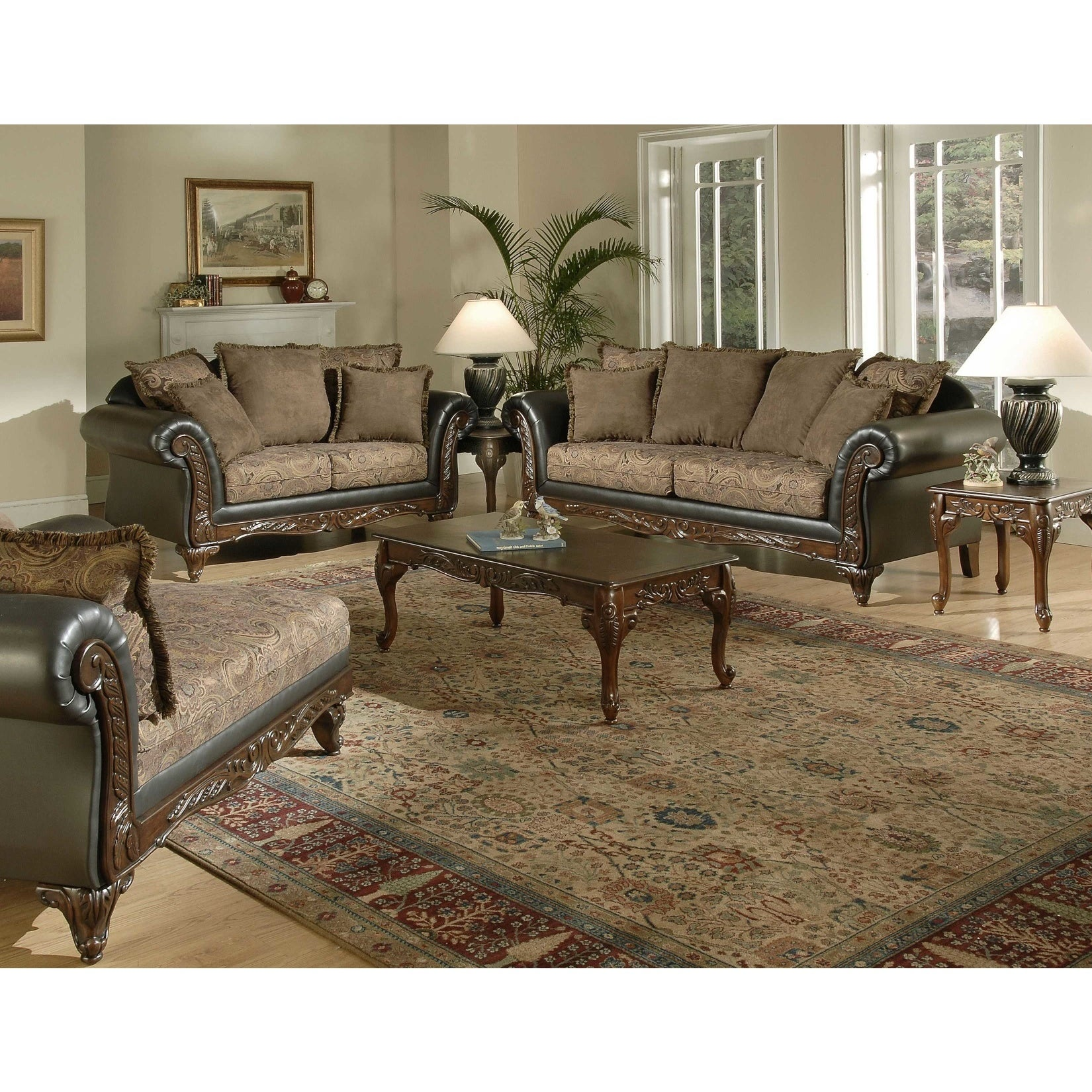 San Marino 2 Tone Chocolate Brown Fabric Sofa Loveseat