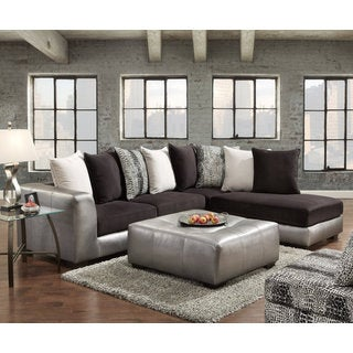 Shimmer Pewter Microfiber Silver Grey Sectional Sofa And Ottoman