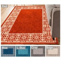 "Well Woven Modern Border Geometric Tile Area Rug - 5'3"" x 7'3"""