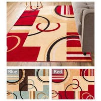 """Well Woven Geometric Shapes Squares Modern Area Rug - 3'3"""" x 5'"""