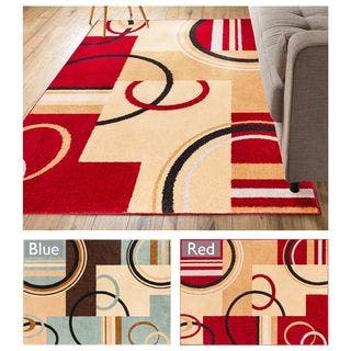 Well Woven Geometric Shapes Squares Modern Area Rug 3 X 5