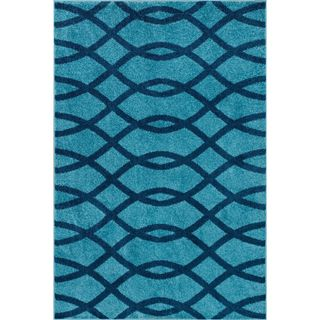 Well Woven Modern Lines Waves Geometric Area Rug - 33 x 5 (Blue - Blue - Moderate Traffic)