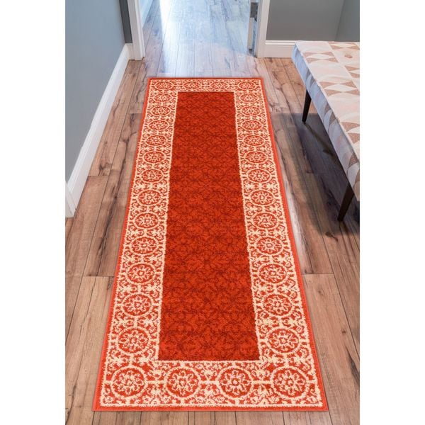 Well Woven Modern Border Geometric Tile Runner Rug - 2' x 7'3
