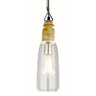 GLEAM Slim Clear Glass Hanging Lamp with White-washed Wooden Top.
